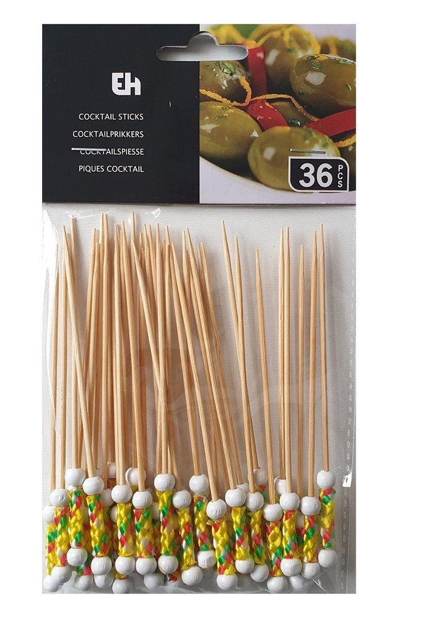 36 Stk. Cocktail Sticks, Cocktailspieße (Weiß)
